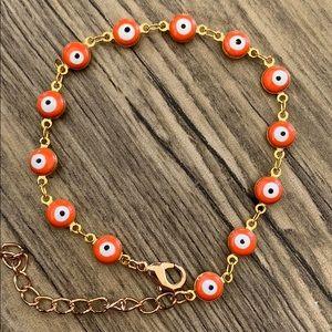 Turkish evil eye gold plated bracelet women orange